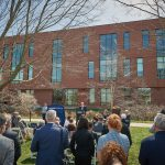 Thomas Kruger, current chairman of the Board of Trustees, speaks at the event celebrating the naming of Lawrence D. McHugh Hall. (Peter Morenus/UConn Photo)