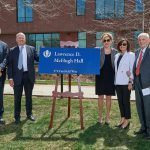 From left, Thomas Ritter '77 JD, Thomas Kruger, President Susan Herbst, Patricia McHugh, and Larry McHugh at the ceremony held to celebrate the naming of Lawrence D. McHugh Hall on May 2. (Peter Morenus/UConn Photo)
