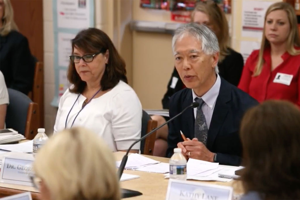 Professor George Sugai speaks with the representatives of the Federal Commission on School Safety about PBIS during a field visit by the Commission to a school in Maryland. (Screenshot from U.S. Department Education Livestream)