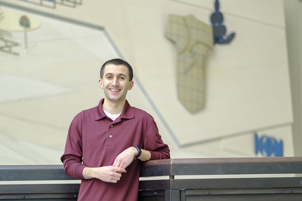 Vince Pistritto '18 (CLAS, SFA), one of six current UConn undergraduates who have won NSF Graduate Research Fellowships, at the Chemistry Building. Pistritto plans to pursue a Ph.D. in chemical catalysis. (Ellen Yang '18 (CLAS)/UConn Photo)