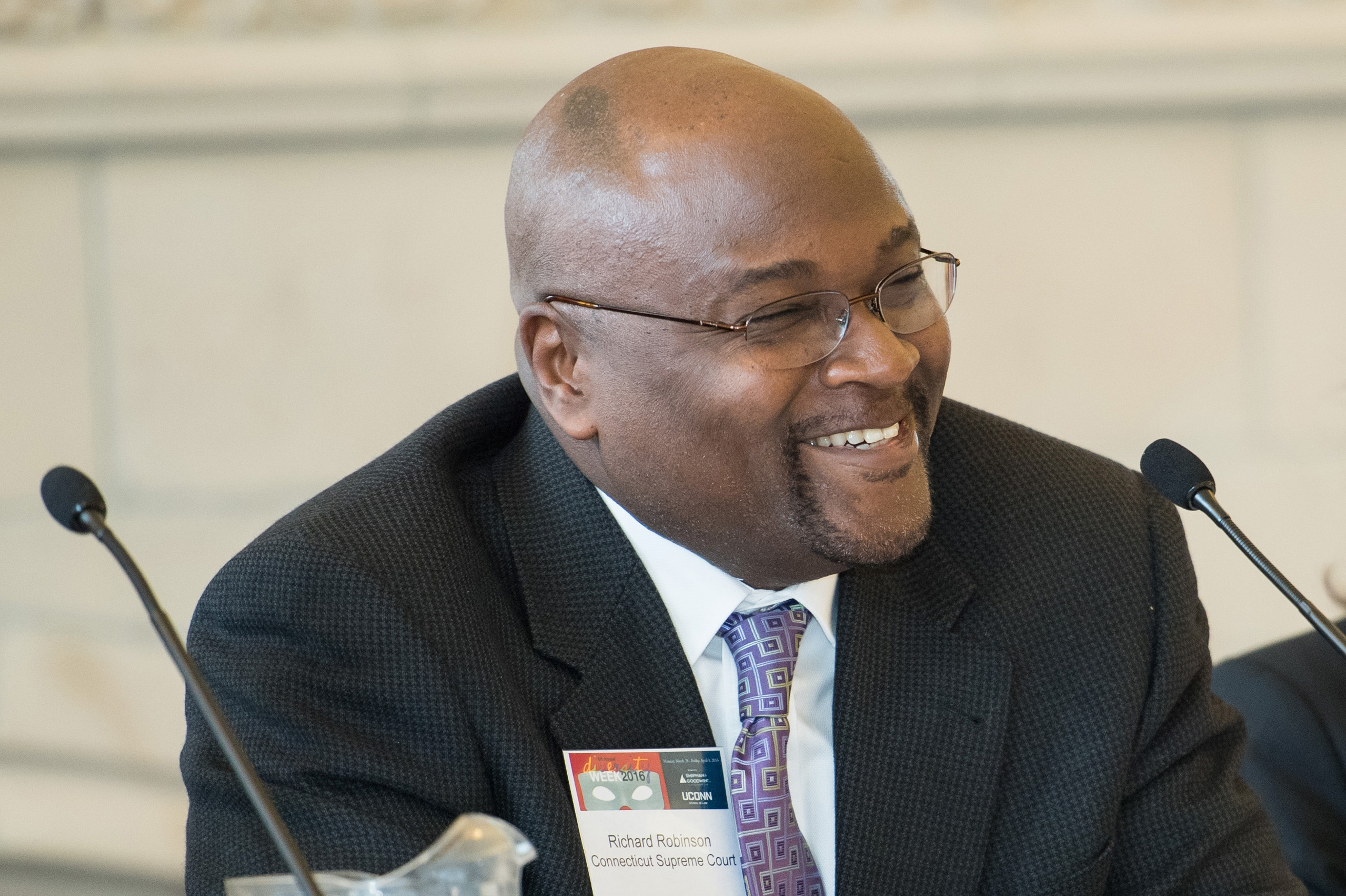 Richard A. Robinson '79 (CLAS) has been appointed as the next chief justice of the Connecticut Supreme Court. Here he is pictured as a speaker on a panel at UConn Law in 2016. (Spencer Sloan for UConn)