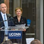 State Rep. Gregg Haddad '89 (CLAS) speaks at the dedication of the Engineering & Science Building on June 11, 2018.  At Right is President Susan Herbst. (Peter Morenus/UConn Photo)
