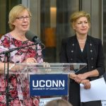State Senator Cathy Osten speaks at the dedication of the Engineering & Science Building on June 11, 2018.  At Right is President Susan Herbst.(Peter Morenus/UConn Photo)