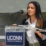 Kanika Malani '20 (CLAS) speaks at the dedication of the Engineering & Science Building on June 11, 2018. (Peter Morenus/UConn Photo)