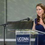 Stephanie Knowlton '15 (ENG), a graduate student, speaks at the dedication of the Engineering & Science Building on June 11, 2018. (Peter Morenus/UConn Photo)