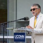 Kazem Kazerounian, dean of engineering, speaks at the dedication of the Engineering & Science Building on June 11, 2018. (Peter Morenus/UConn Photo)