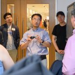 Ki Chon, head of biomedical engineering, demonstrates the use of a smart band for measuring heart rate during a tour of the the Engineering & Science Building on June 11, 2018. (Peter Morenus/UConn Photo)