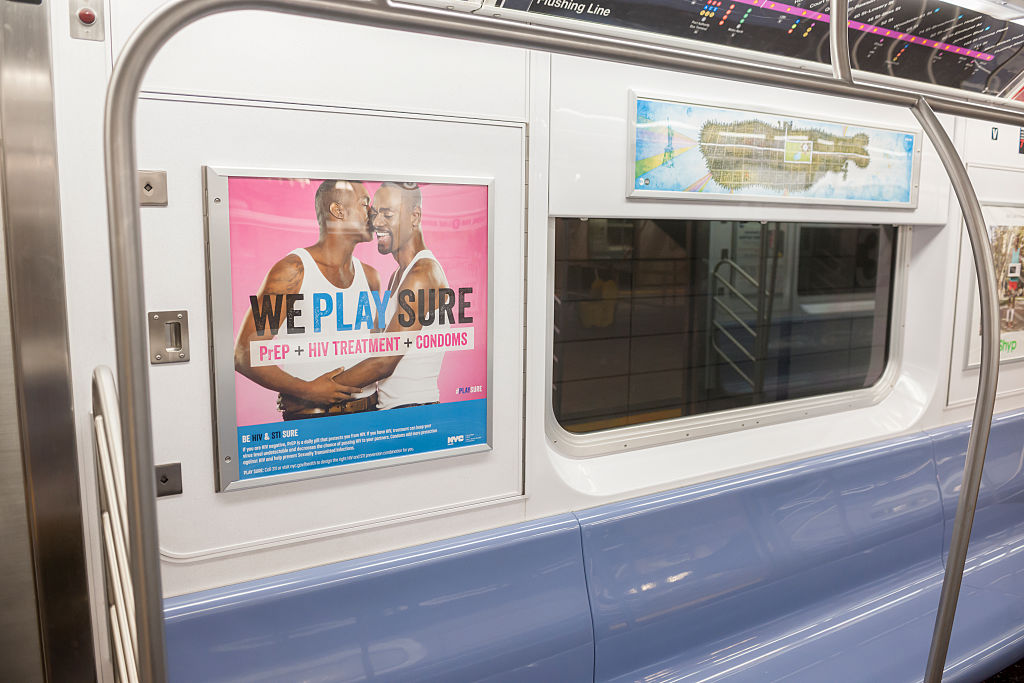 Advertising on the subway in New York in 2016 promotes the use of HIV testing, prophylactic drugs and condoms to combat the spread of AIDS and sexually transmitted infections. (Richard B. Levine/Getty Images)