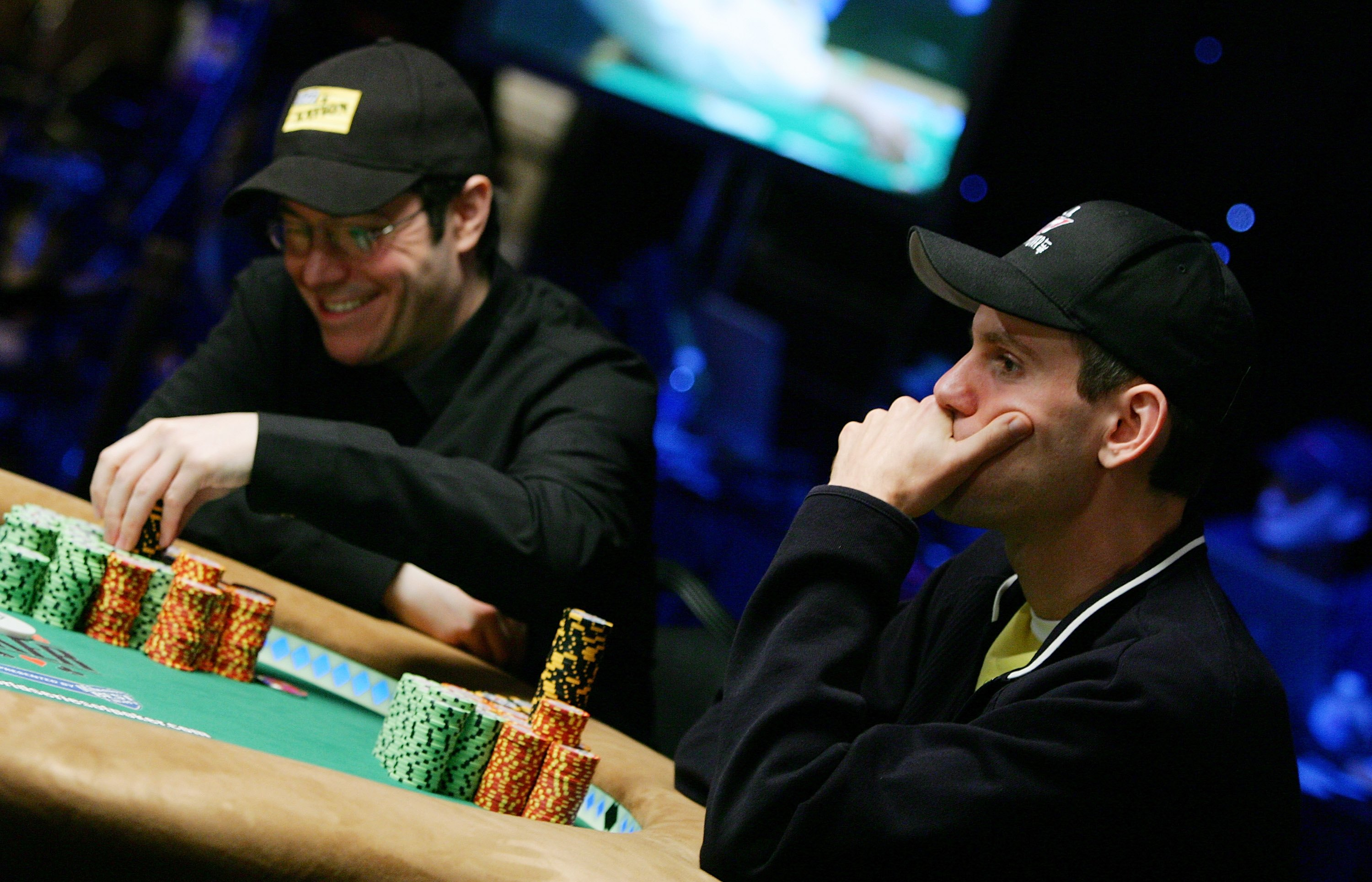 Chip leader Jamie Gold, left, of California and second place chip holder Allen Cunningham of Nevada compete during the World Series of Poker no-limit Texas Hold 'em main event in Las Vegas in 2006. The top prize was $12 million. (Ethan Miller/Getty Images)