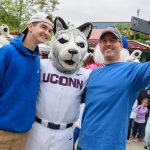 UConn alumni and Jonathan the Husky attend a New York Mets baseball game at Citi Field in Queens New York on June 3, 2018. (Peter Morenus/UConn Photo)