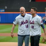 Dan Hurley, left, head coach of UConn Men's Basketball, and Rob Stone, '09 (CLAS), vice president for business development at SS&C Technologies, at a New York Mets baseball game at Citi Field in Queens New York after the ceremonial first pitch at a New York Mets baseball game on June 3, 2018. (Peter Morenus/UConn Photo)