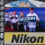 UConn alumni seen on the jumbotron at a  New York Mets baseball game at Citi Field in Queens New York on June 3, 2018. (Peter Morenus/UConn Photo)