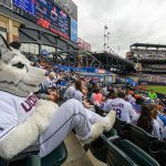 Jonathan the Husky watched a New York Mets baseball game from the stands at Citi Field in Queens New York on June 3, as part of the third annual UConn Day at Citi Field, with 500 alumni in attendance to celebrate their ties with UConn Nation and UConn's ties with New York City. Dan Hurley, head coach of UConn Men's Basketball, threw the ceremonial first pitch.(Peter Morenus/UConn Photo)