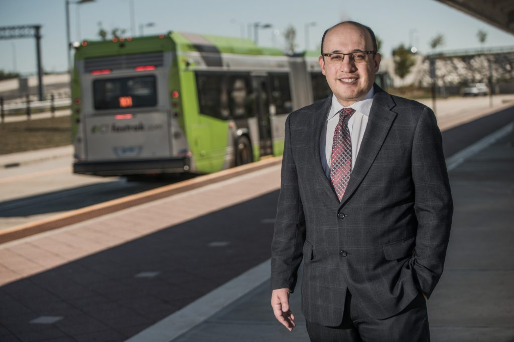 Business professor Jeff Cohen, who has researched the business and real estate impacts of the CTfastrak bus rapid transit service, says the new Hartford Line commuter train will have an impact on land value and job opportunities in cities. (Nathan Oldham/UConn Photo)