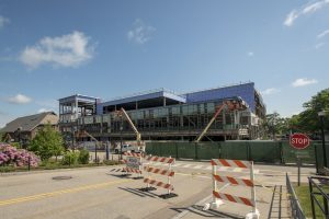 Traffic has been diverted to facilitate construction of the new Student Recreation Center. (Sean Flynn/UConn Photo)
