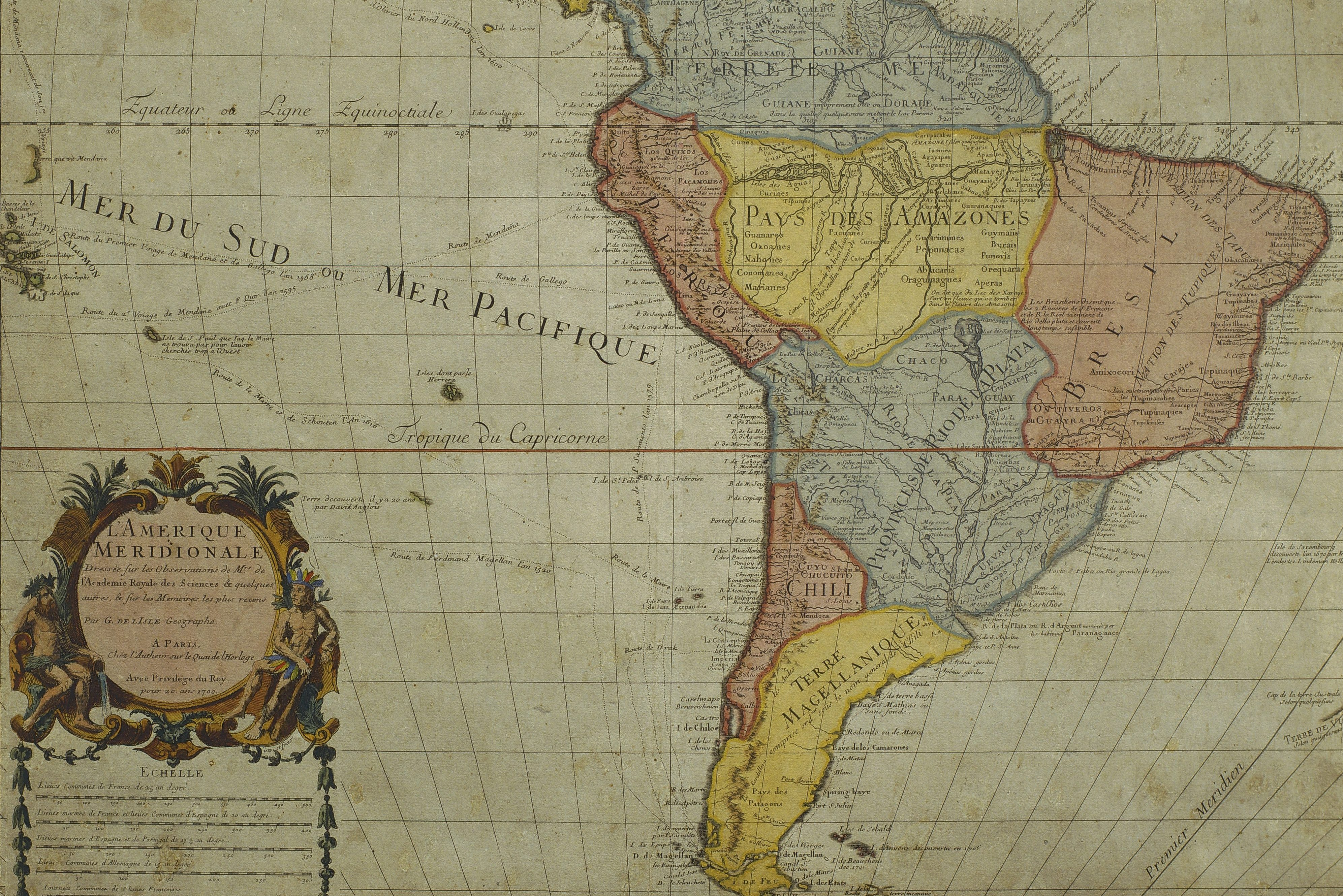 South America, by Guillaume de l'Isle, Paris, 1700. Engraving. (Photo by DeAgostini/Getty Images)