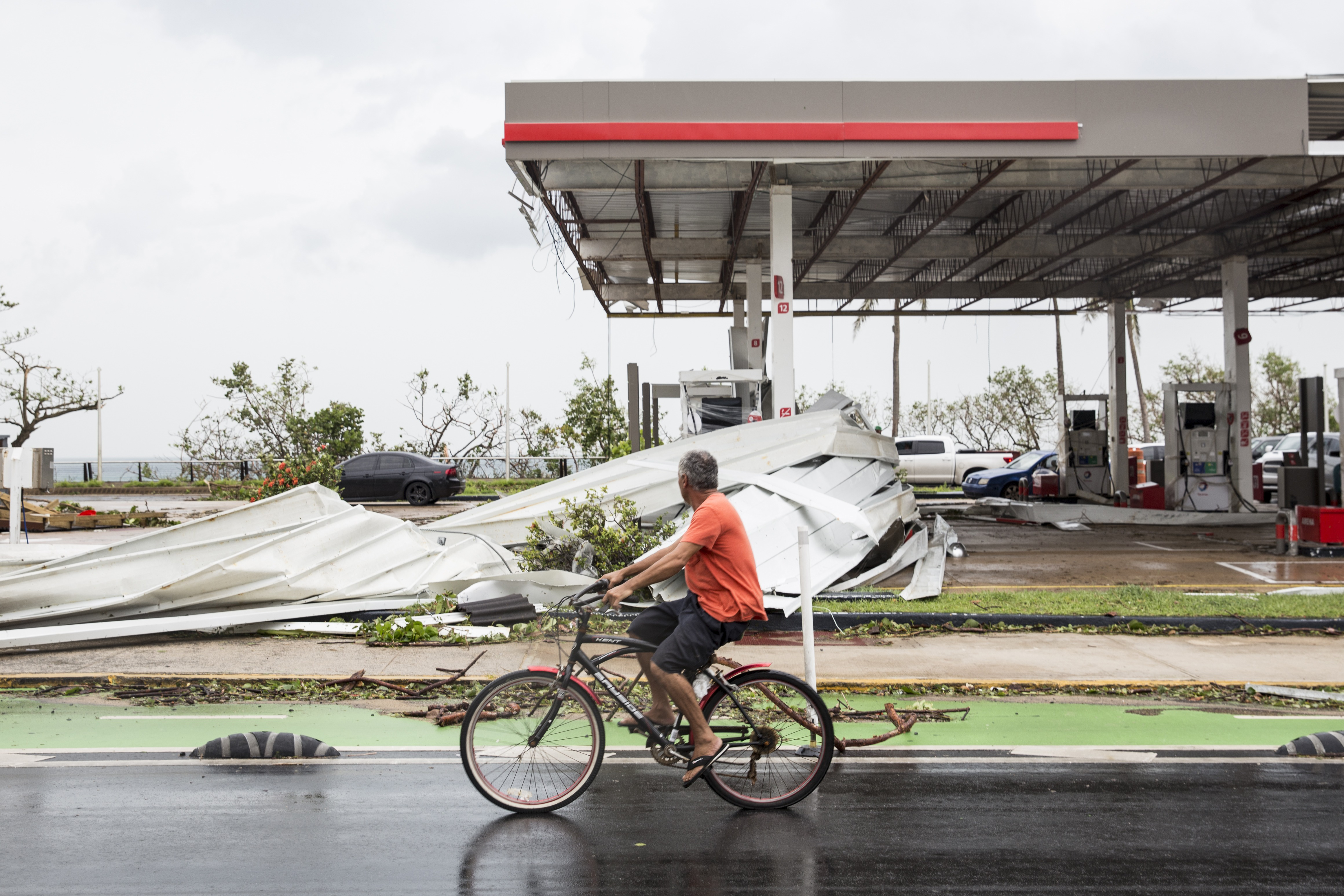 SAN JUAN, PUERTO RICO - SEPTEMBER 21: A damaged gas station the day after Hurricane Maria made landfall on September 21, 2017 in San Juan, Puerto Rico. The majority of the island has lost power, in San Juan many are left without running water or cell phone service, and the Governor said Maria is the