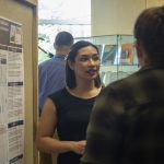 Keiona Khen, a nutritional sciences major in the College of Agriculture, Health, and Natural Resources, speaks about her research at the McNair Scholars Poster Session on July 25, 2018. (Christine Buckley/UConn Photo)