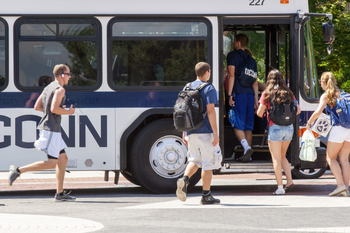 The changes in the bus routes – the first since 2011– are designed to be more efficient for students and decrease the number of transfers needed. (UConn Transportation Services Photo)
