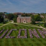 The Class of 2022 assembled for their class picture on the Great Lawn on Aug. 25. This year's freshman class of 5,500, with a majority drawn from Connecticut, is the largest ever, the most diverse, and among the most academically accomplished in recent history. (Peter Morenus/UConn Photo)