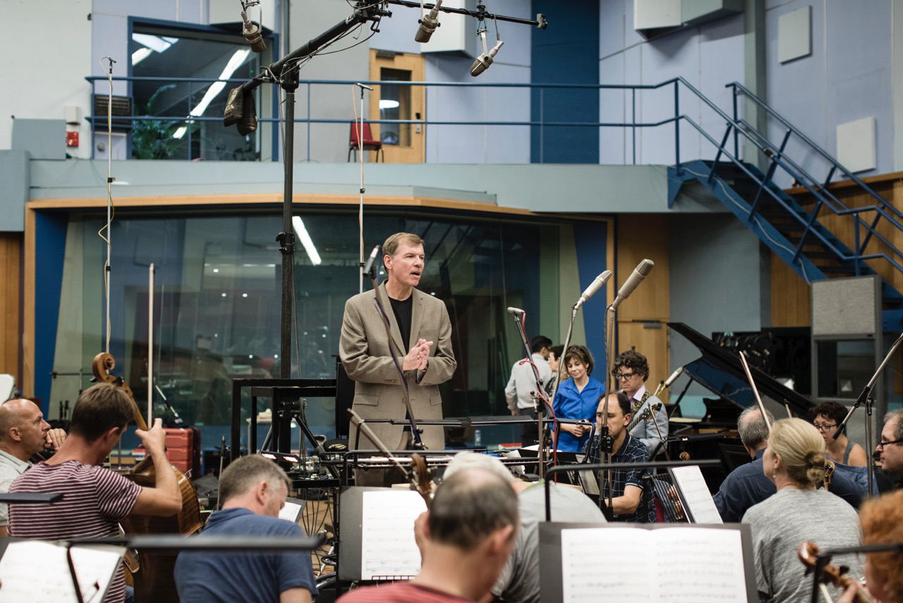UConn composer Kenneth Fuchs, a professor of music, records his latest album 'Spiritualist' with the London Symphony Orchestra at the Abbey Road Studios in London.