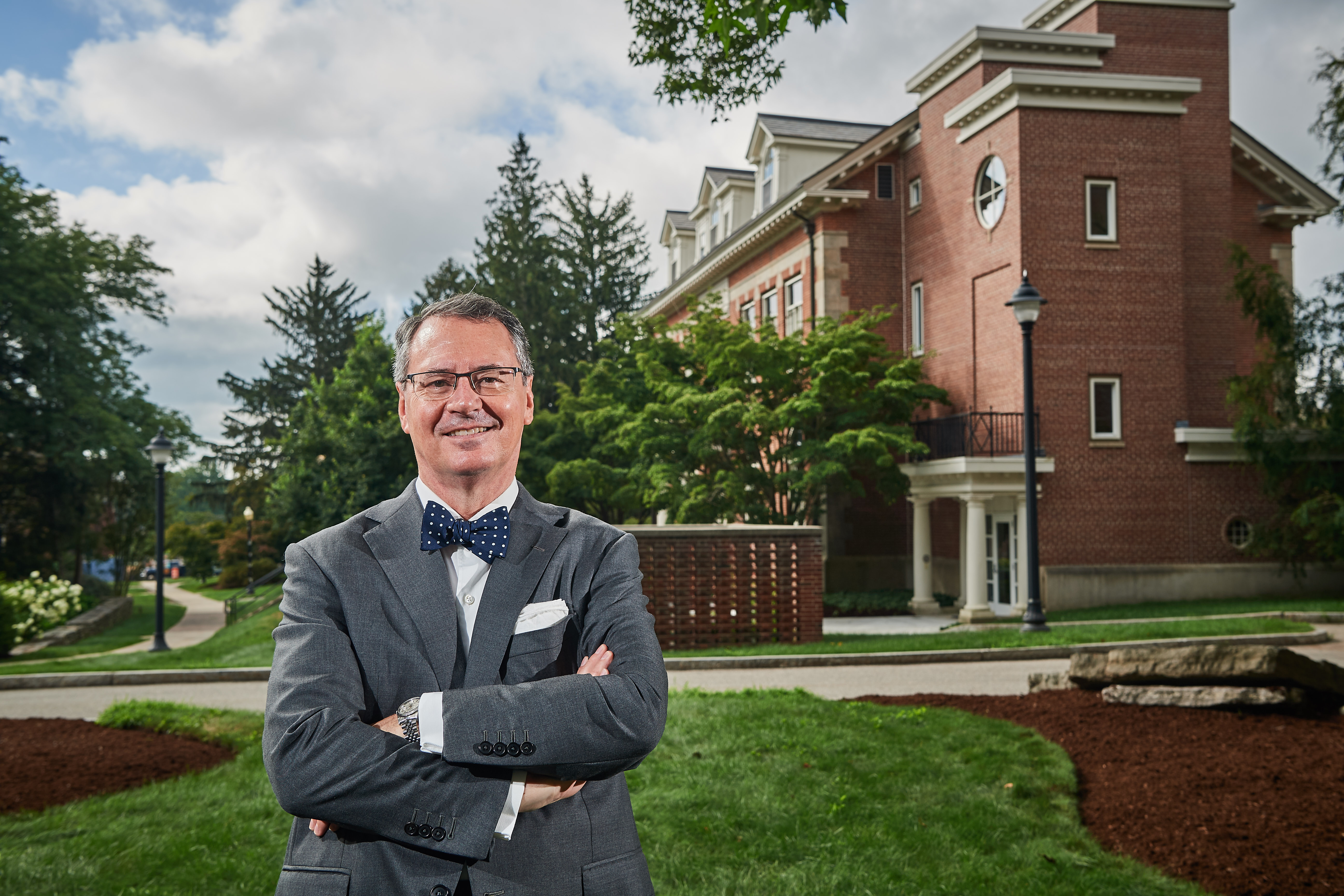 Provost Craig Kennedy stands outside Gulley Hall onAug. 15, 2018. (Peter Morenus/UConn Photo)