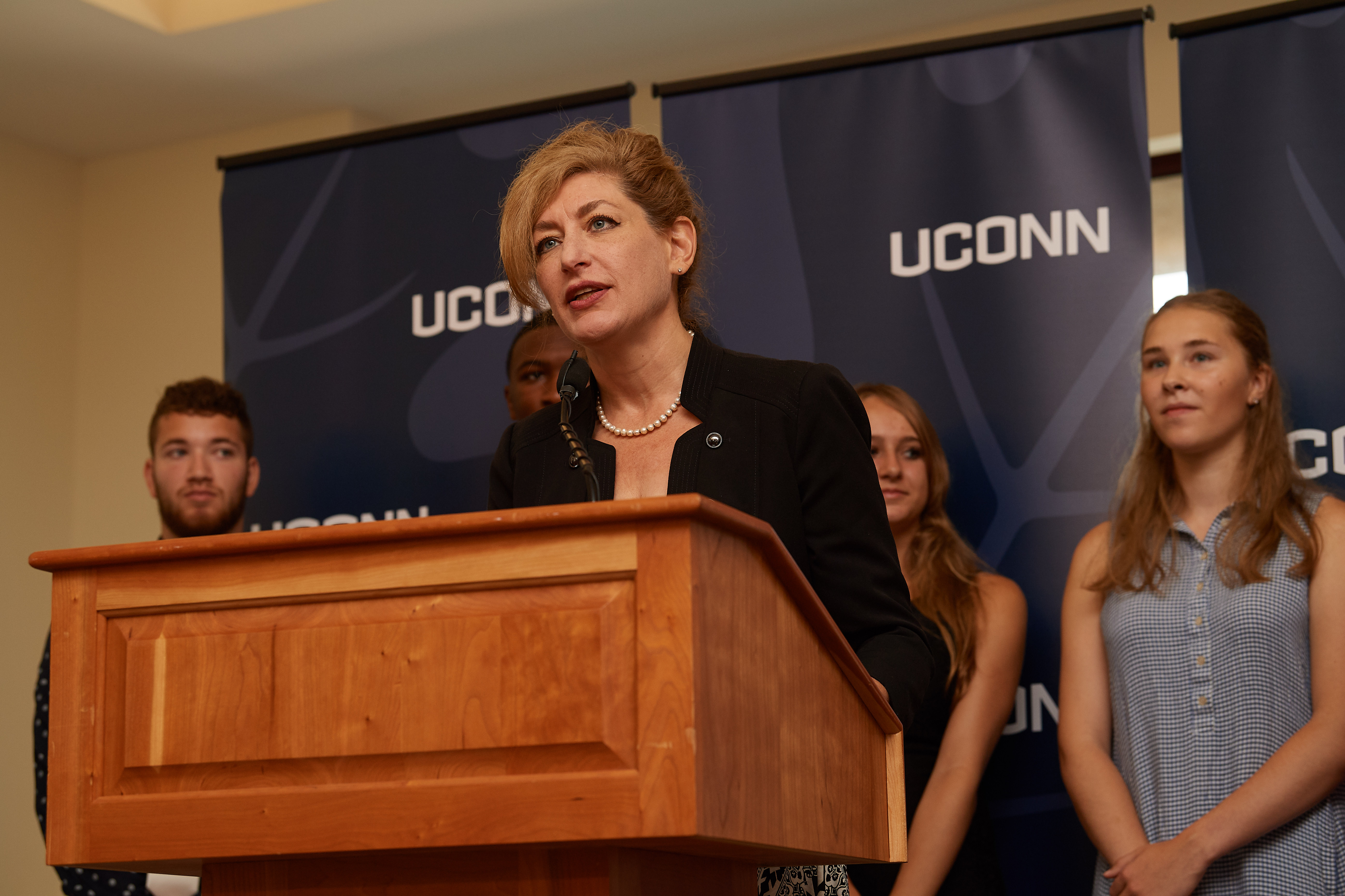 President Susan Herbst speaks at a press conference to announce details of the UConn Class of 2022 held at the Hall of Fame at the state capitol on Aug. 22, 2018. (Peter Morenus/UConn Photo)
