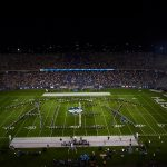 The UConn Marching Band spells out Alex in remembrance of Parkland shooting victim Alex Schachter at halftime during a football game at Pratt & Whitney Stadium at Rentschler Field on Aug. 30, 2018. (Peter Morenus/UConn Photo)