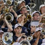 UConn Marching Band members perform during the season opener football game against the University of Central Florida at Pratt & Whitney Field at Rentschler Field on Aug. 30. (Peter Morenus/UConn Photo)