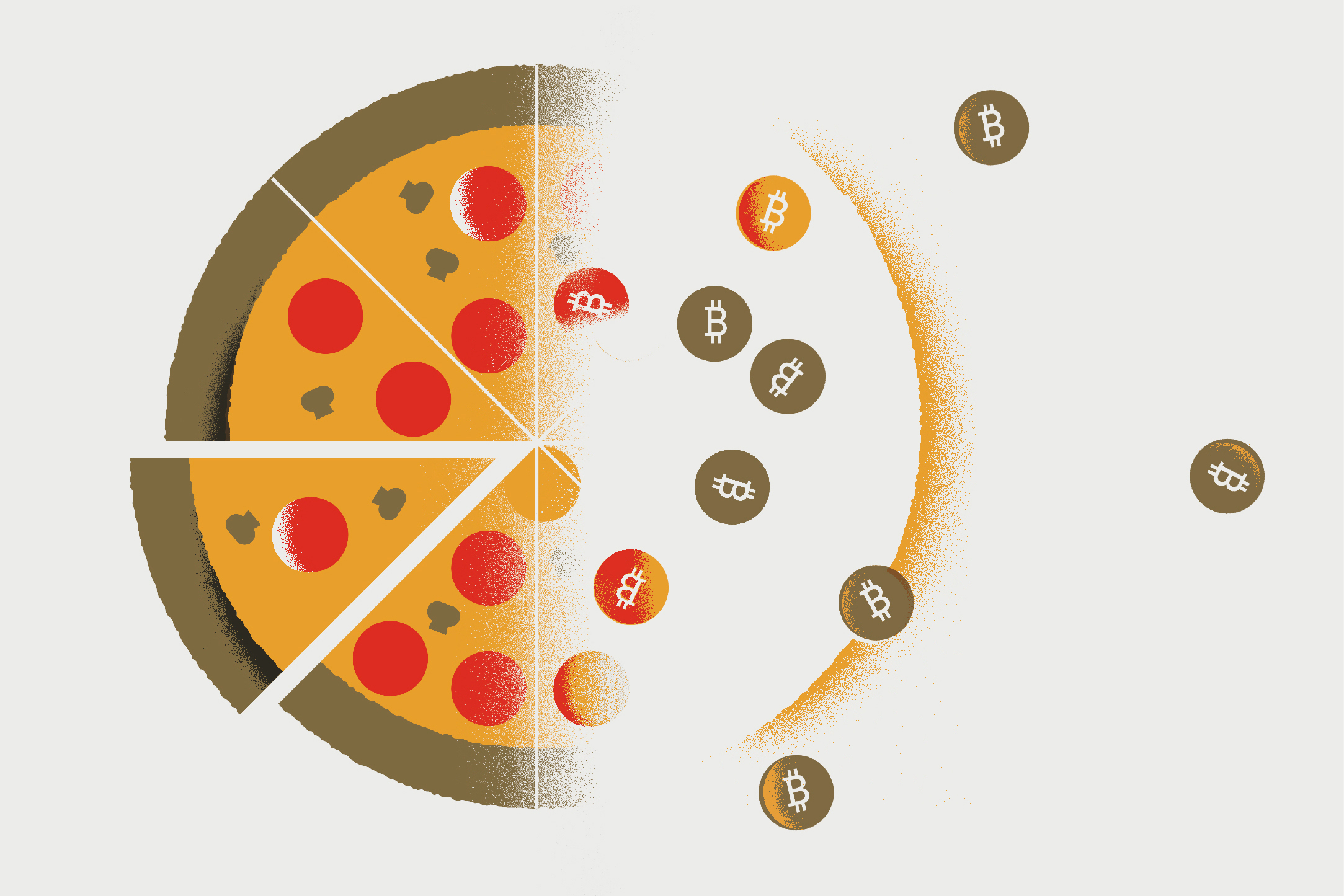 If you can understand pizza and poker, you can understand Bitcoin – and David Noble believes you should. (Illustration by Andrew Colin Beck for UConn)