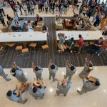 Students, faculty, and staff listen to the Mariachi Mexico Antiguo Band during a celebration that kicked off the semester and welcomed new students to the Hartford Campus on Aug. 29, 2018. (Sean Flynn/UConn Photo)