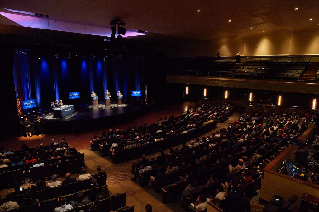 A view of the gubernatorial debate at the Jorgensen Center for the Performing Arts. (Peter Morenus/UConn Photo))