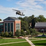 A Sikorsky Black Hawk helicopter lands on the Student Union Mall as part of Lockheed Martin Day on Sept. 27. UConn has a longstanding partnership with Lockheed Martin connecting students in the STEM fields to careers and internships. (Peter Morenus/UConn Photo)