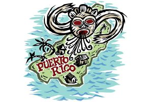 Juricán, from the Taino legend to explain hurricanes in the West Indies. (John Bailey/UConn Illustration)