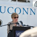 """There is great work being done on this ship, from the study of coastal resilience to the study of maritime activity,"" said President Susan Herbst during the recommissioning ceremony for the R/V Connecticut. (Peter Morenus/UConn Photo)"