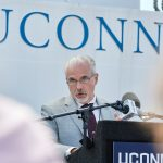 J. Evan Ward, marine sciences department head, speaks during the recommissioning ceremony. (Peter Morenus/UConn Photo)