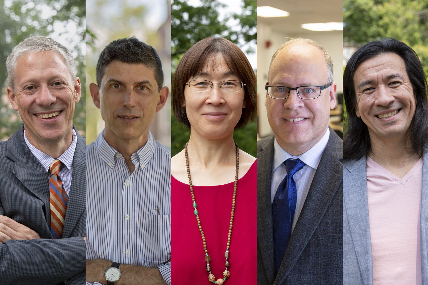The College of Liberal Arts and Sciences welcomed five new heads of departments, centers, and institutes this year. From left to right: Associate Professor of History Mark Healey; Professor and Head of History Mark Healey; Professor of Anthropology and Director of El Instituto Sam Martinez; Professor and Director of Geography Cindy Zhang; Professor and Head of Physics Barry Wells; and Associate Professor of History and Director of Asian and Asian American Studies Jason Chang.