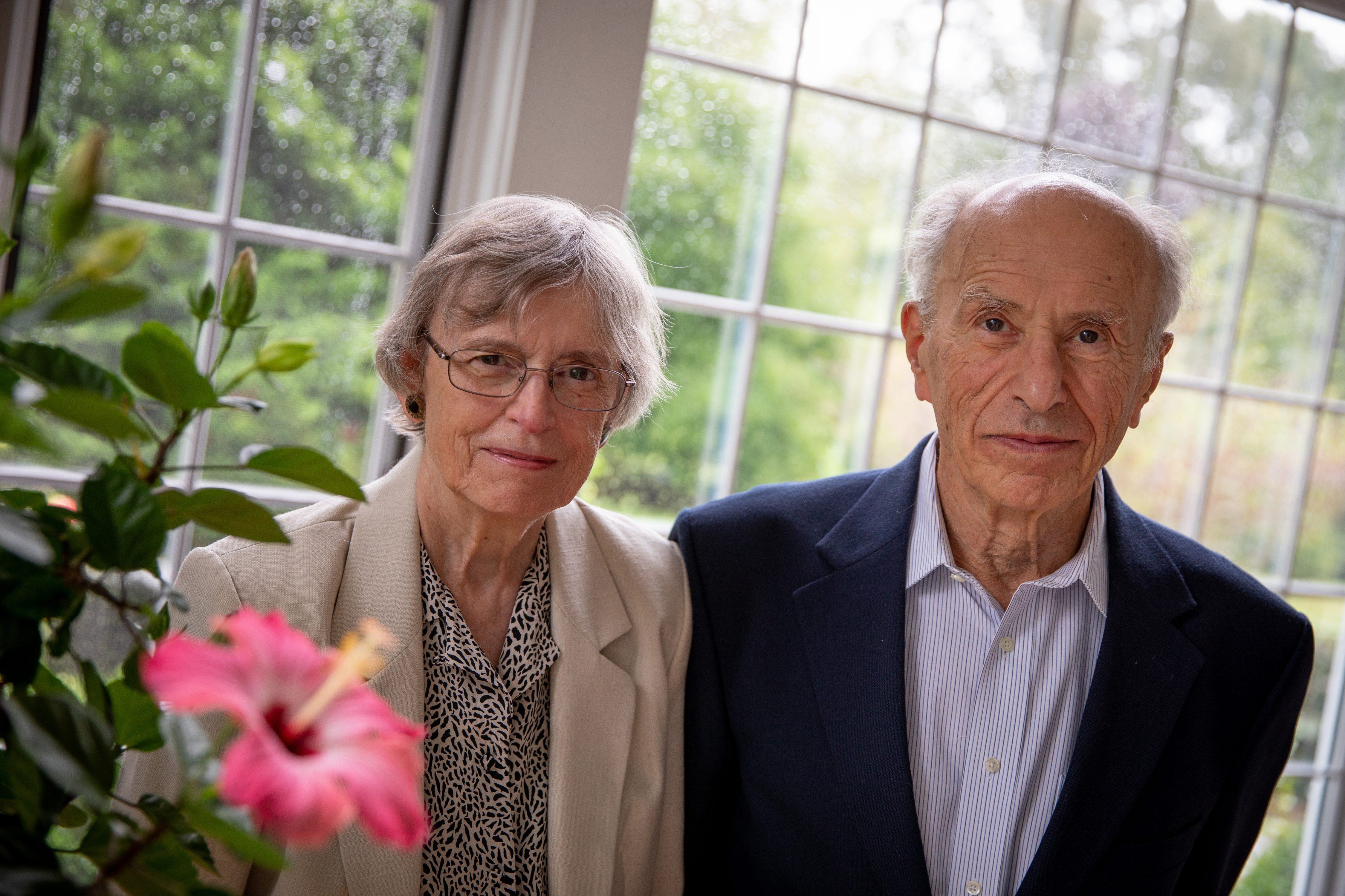 Jean Lucas-Lenard and John Lenard at home in Mansfield. (G.J. McCarthy / UConn Foundation)