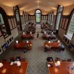 A view of the South Reading Room at the Wilbur Cross Building during remodeling on Sept. 24, 2018. (Peter Morenus/UConn Photo)