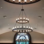 New chandeliers hang in the renovated North Reading Room at the Wilbur Cross Building. (Peter Morenus/UConn Photo)