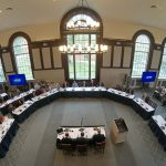The Board of Trustees meet at the North Reading Room at the Wilbur Cross Building on Sept. 26, 2018. (Peter Morenus/UConn Photo)