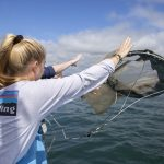 Students toss a plankton net off of the side of the Enviro-Lab III. (Bri Diaz/UConn Photo)