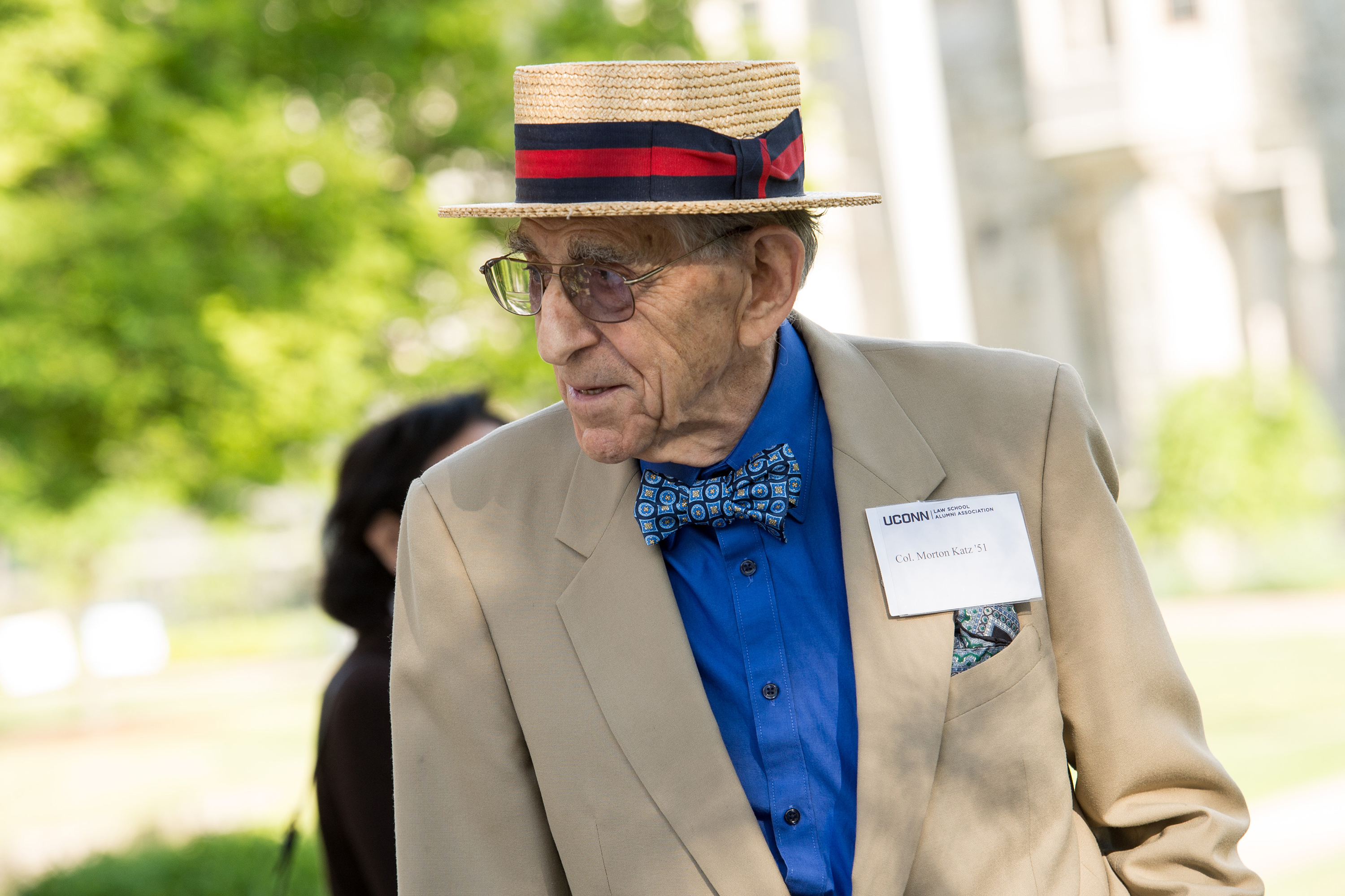Morton Katz '51 attending a UConn School of Law reunion event in 2015. (Spencer A. Sloan for UConn)