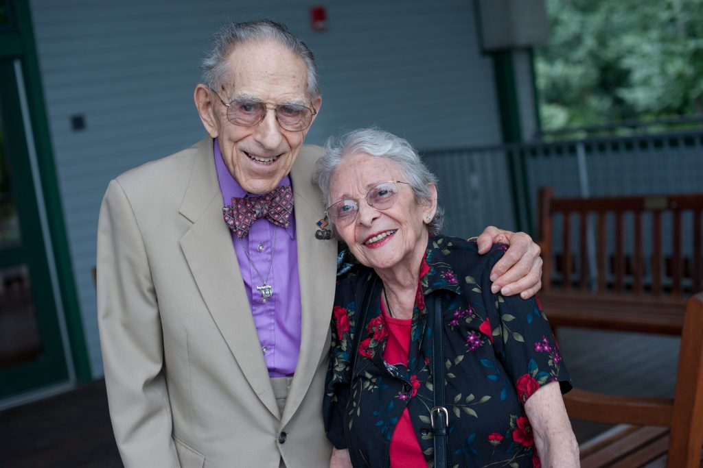 Law School alumnus Milton Katz with his wife Shirley, a retired pharmacist whom he married in 1964.
