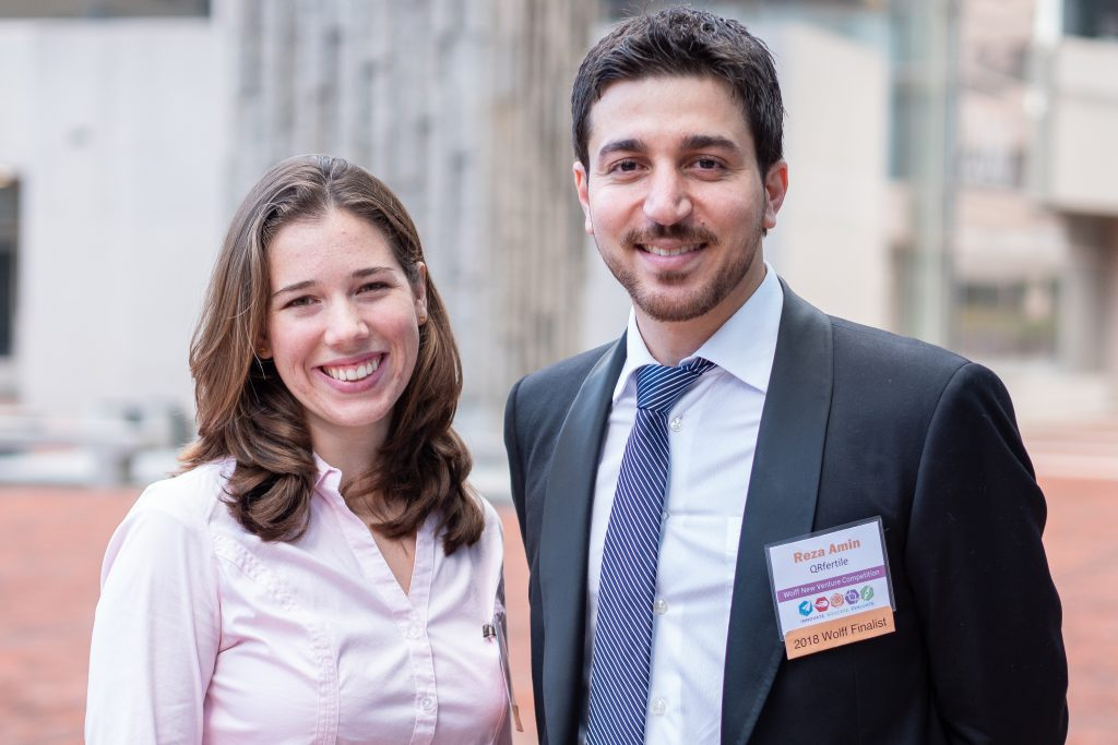 Stephanie Knowlton and Reza Amin, both doctoral students in engineering, won first prize in the 2018 Wolff New Venture Competition. (Eric Olson for UConn)