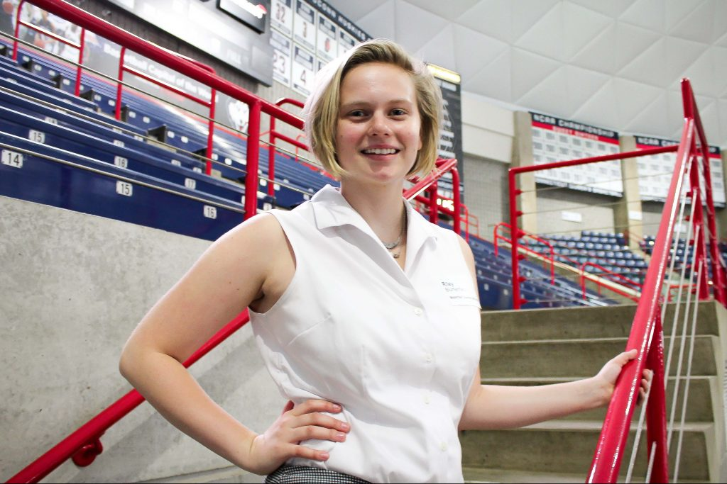 Riley Blumenfield, a materials science and engineering student, discovered her passion for research thanks to Research Connections, an annual networking event for students and faculty. (Carson Stifel/UConn Photo)