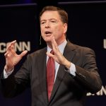 James Comey, former director of the Federal Bureau of Investigation, speaks during the Edmund Fusco Contemporary Issues Forum at the Jorgensen Center for the Performing Arts on Oct. 15, 2018. (Peter Morenus/UConn Photo)