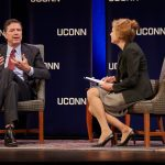 James Comey, former director of the FBI, left, answers a question from President Susan Herbst during the Edmund Fusco Contemporary Issues Forum at the Jorgensen Center on Oct. 15. Drawing on his career in American politics and interactions with three U.S. presidents, he focused on the importance of ethical leadership as a basis for making sound decisions. (Peter Morenus/UConn Photo)