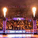 Redshirt freshman Sidney Wilson makes his entrance at First Night. (Stephen Slade '89 (SFA) for UConn)