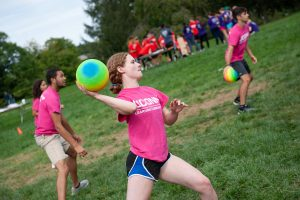 Sarah Dowling, a member of Leadership House, participates in a dodgeball competition. (Defining Studios Photography for UConn)